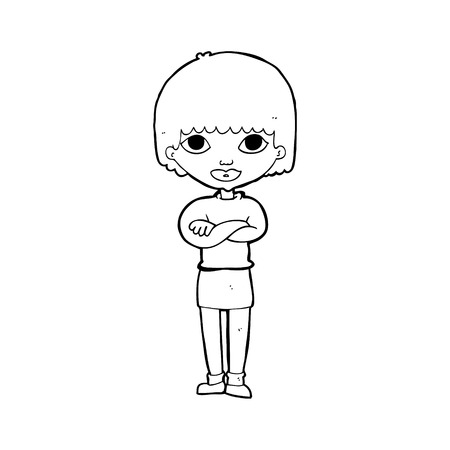folded arms: cartoon woman with folded arms Illustration