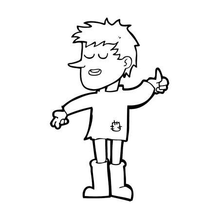 positive attitude: cartoon poor boy with positive attitude