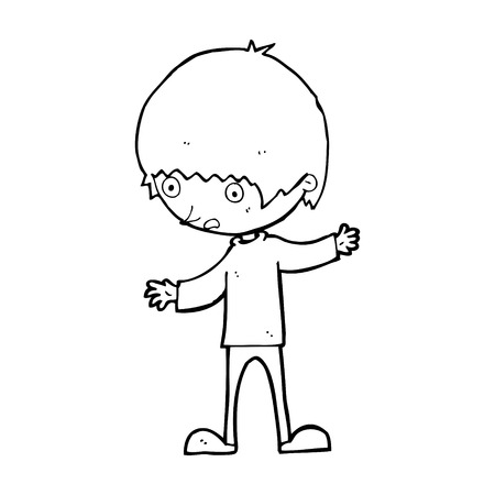 arms outstretched: cartoon boy with outstretched arms