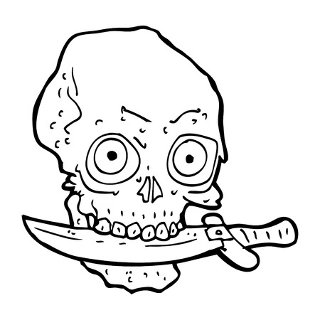 grinning: cartoon pirate skull with knife in teeth Illustration