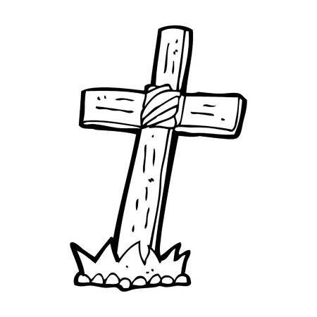 cartoon wooden cross grave Иллюстрация