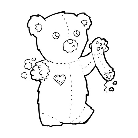 cartoon teddy bear with torn arm Vector