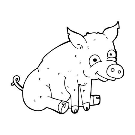 cerdo caricatura: feliz de dibujos animados de cerdo