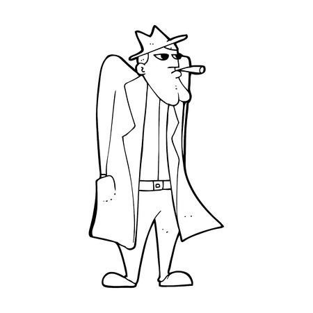 the trench: cartoon man in hat and trench coat Illustration