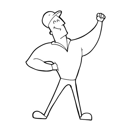 heroic: cartoon man striking heroic pose Illustration