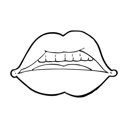 pout: cartoon sexy lips symbol