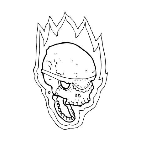 cartoon flaming pirate skull Vector