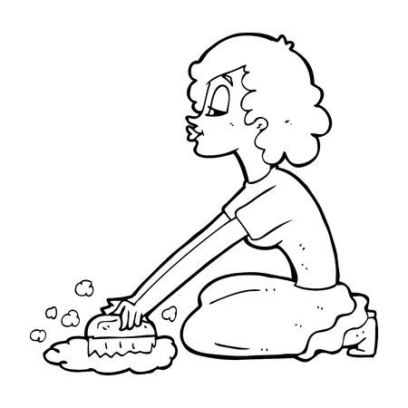 scrubbing: cartoon woman scrubbing floor Illustration