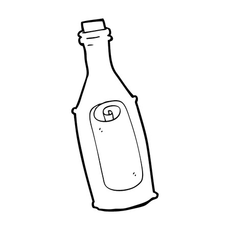 cartoon message in bottle Vector