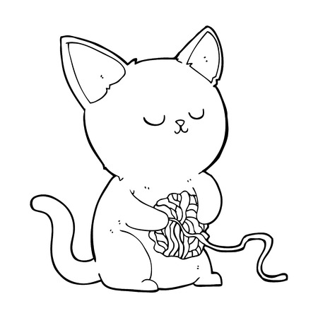 cartoon cat playing with ball of yarn Vector
