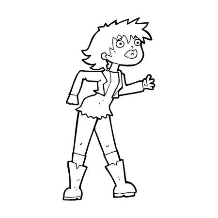 leather jacket: cartoon girl in leather jacket
