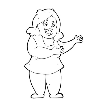 cartoon happy fat woman Vector