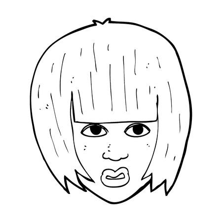 annoyed girl: cartoon annoyed girl with big hair
