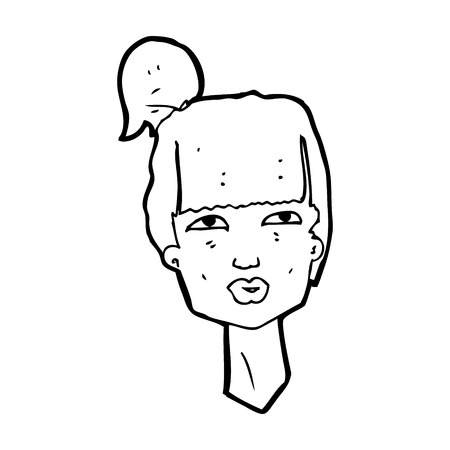 pout: cartoon female head Illustration