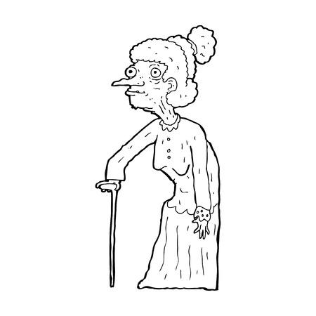 alte frau: Cartoon alte Frau