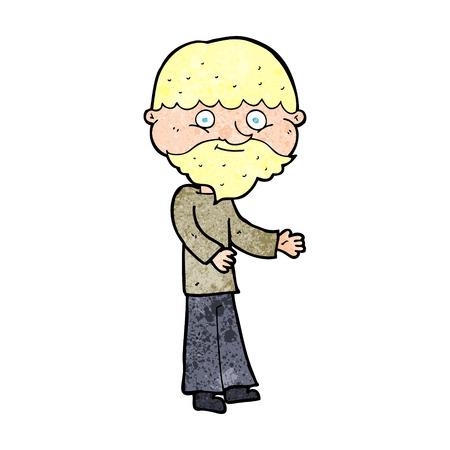 bearded man: cartoon happy bearded man
