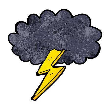 cartoon lightning bolt and cloud Illustration