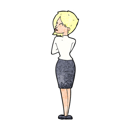 ignoring: cartoon businesswoman ignoring Illustration