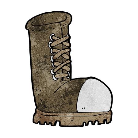 steel toe boots: cartoon old work boot Illustration