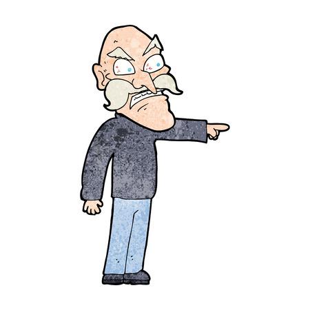 accuser: bande dessin�e furieux vieil homme Illustration