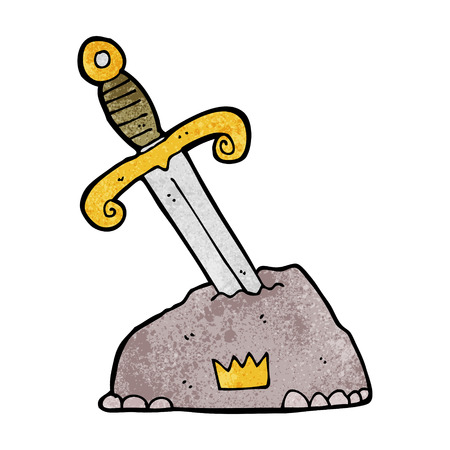 cartoon sword in stone Vector