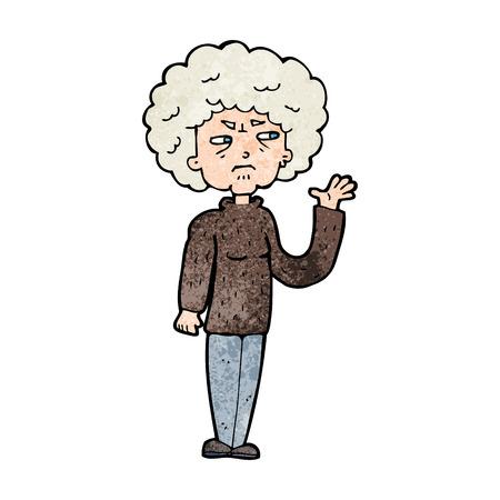 cartoon annoyed old woman waving Vector