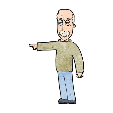 cartoon old man: cartoon old man gesturing Get Out!