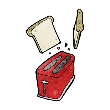 cartoon toaster spitting out bread Illustration
