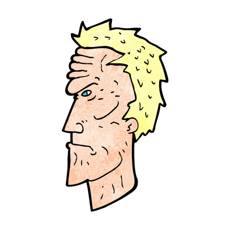 wrinkled face: cartoon angry face