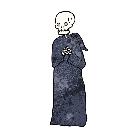 robe: cartoon skeleton in black robe
