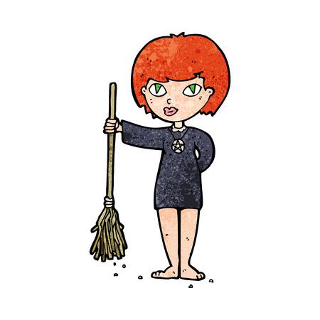 wicca: cartoon pretty witch girl