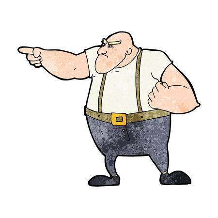 tough: cartoon angry tough guy pointing Illustration