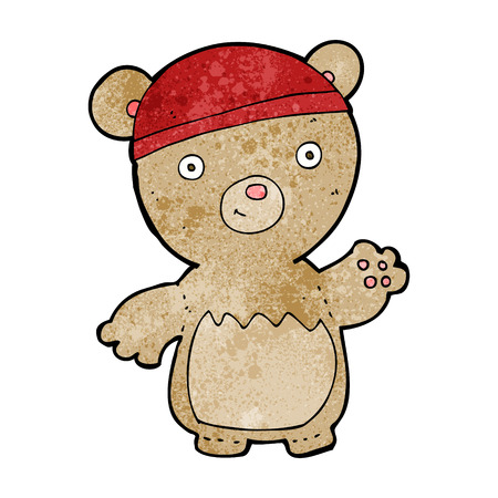 cartoon teddy bear wearing hat Vector