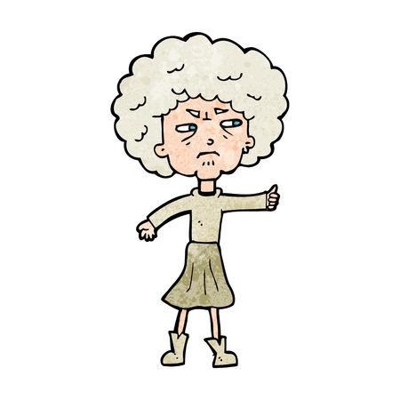 alte frau: Cartoon �rgerte alte Frau