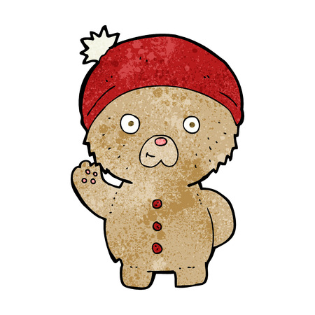 cartoon waving teddy bear in winter hat Vector