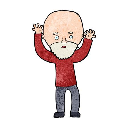 bearded: cartoon bearded man panicking