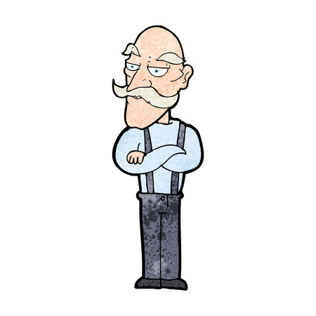 bored: cartoon bored old man Illustration