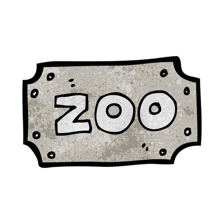 cartoon zoo: cartoon zoo sign Illustration