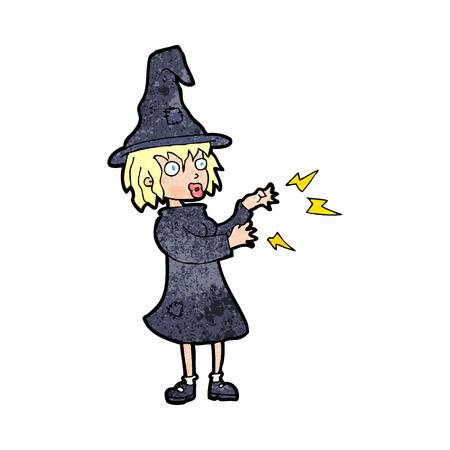 casting: cartoon witch casting spell Illustration