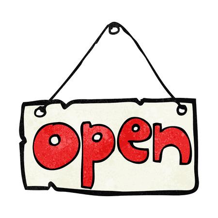 shop sign: cartoon open shop sign Illustration