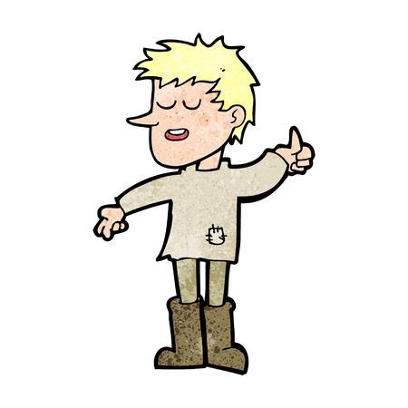 actitud positiva: dibujos animados muchacho pobre con actitud positiva