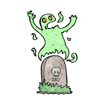 cartoon ghost rising from grave Vector