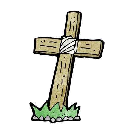cartoon wooden cross grave Illustration