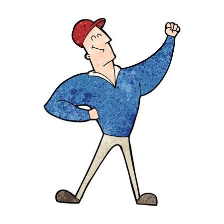 cartoon man striking heroic pose Illustration