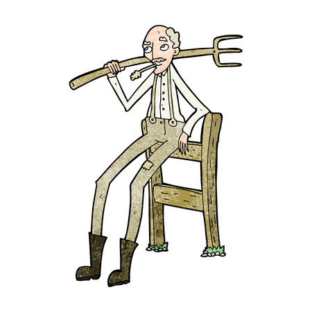 old farmer: cartoon old farmer leaning on fence