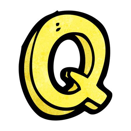 q: lettera cartone animato Q Vettoriali