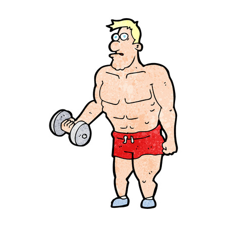 cartoon man lifting weights Vector
