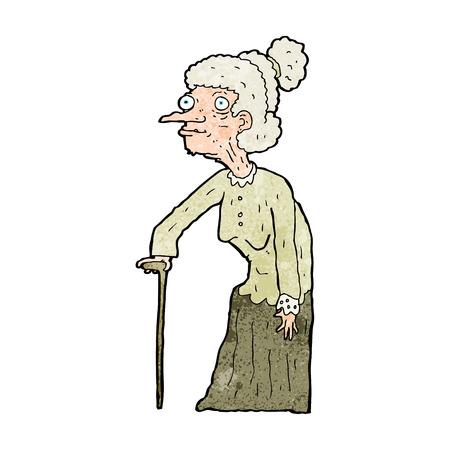 cartoon oude vrouw
