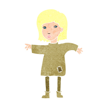 patched: cartoon woman in patched clothing