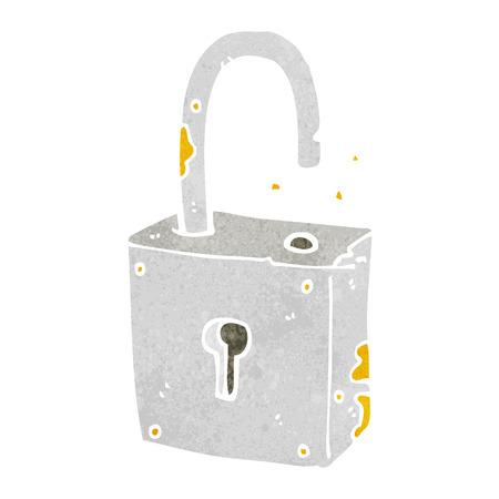 old padlock: cartoon rusty old padlock